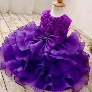 💜New! Purple Flower Girl Princess Pageant Dress💜